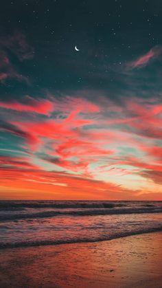 New post on Night Sky Wallpaper, Sunset Wallpaper, Nature Wallpaper, Pretty Sky, Beautiful Sky, Beautiful Landscapes, Nature Aesthetic, Beach Aesthetic, Strand Wallpaper