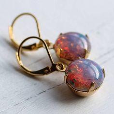 pink fire opal earrings by silk purse, sow's ear | notonthehighstreet.com