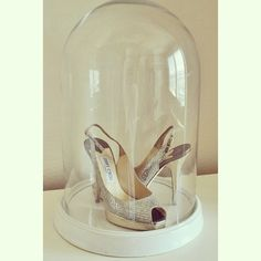 Gia treasures her wedding shoes in a #ZGallerie Glass Bell Jar.
