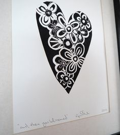 Lino print heart