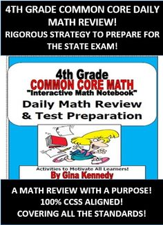 """4TH GRADE COMMON CORE DAILY MATH REVIEW! CHALLENGING WAY TO REVIEW ALL THE STANDARDS NECESSARY TO PASS YOUR STATE STANDARDIZED TEST WITH A """"NUMBER OF THE DAY"""" TYPE PROCESS...  I created the 4th Grade Common Core Interactive Notebook """"Morning Math Mojo"""" Daily Review program last year to use with my gifted students as a rigorous, challenging; but teacher friendly daily warm-up plan that would expose them to numerous grade level math skills each week.$"""