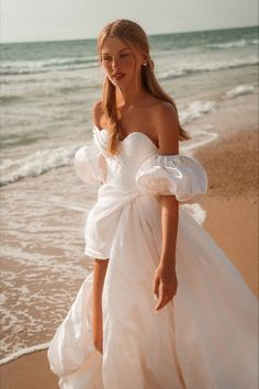 """Beautiful """"Angel"""" gown from our S/S 2021 bridal collection. We invite you all to see the entire new collection in our website: www.ohadkrief.com Angel Gowns, Angel Dress, Couture Wedding Gowns, Wedding Dresses, Balloon Skirt, Two Piece Gown, Young Fashion, Bridal Collection, Evening Gowns"""