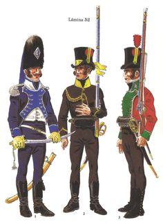 Tropas Gallegas creadas durante la Guerra de Independencia: 1 - Teniente de Granaderos del Regimiento Provincial de Pontevedra 1812-14 2 - Voluntario del Batallón Literario 1808 3 - Voluntario de la Milicia Honoraria de La Coruña 1808