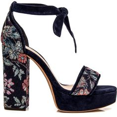 Night Shade Celine Floral Platform Sandal ($595) ❤ liked on Polyvore featuring shoes, sandals, heels, floral printed shoes, floral sandals, floral shoes, flower print shoes and floral platform sandals