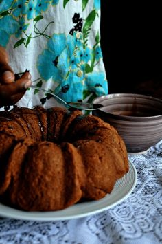 charcoal-stove-baked-bundt-millet-choco-doughnut-with-mulberries. A Kitchen In #Uganda