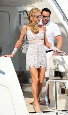 Paris Hilton in Mini Dress Leaving a Yacht in Cannes