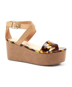 Diba Tortoise & Natural Outta Site Leather Wedge Sandal by Diba #zulily