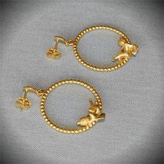 Sleeping Cupid - Gold Plated Earrings  #cupid #love #eros #earrings #gift #Greece #jewellery