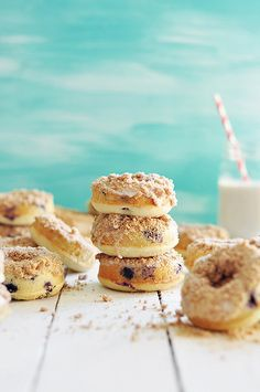 baked blueberry crumb doughnuts