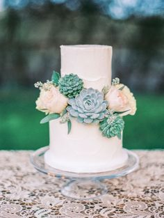 Chic, simple and uncluttered Succulents wedding cake.... perfect !