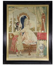 "Antique Large Victorian Needlepoint Tapestry, Young Girls, Interior, Frame is 28.5"" x 22.5"""