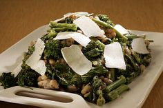 Roasted broccoli rabe with white beans and ricotta salata.