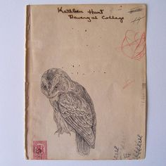 original art by Jen Gibbs  #owl #bird, paper, book page, vintage, #drawing pencil, graphite, ink, etsy