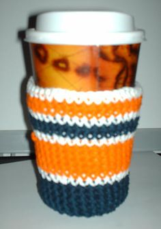 Crocheted coffee sleeve  from: http://shala-beads.livejournal.com/121994.html