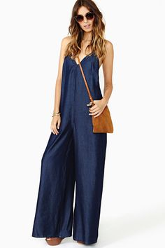 CUTE!!!!! Rhapsody Chambray Jumpsuit in Clothes Bottoms Rompers + Jumpsuits at Nasty Gal