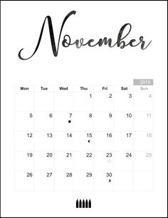 print november 2018 calendar with notes november calendar moon calendar blank calendar free