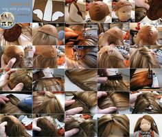How to Make Mohair Weft Parted Hair for a Doll - Wig Cap - Tutorial here: https://www.flickr.com/photos/57707829@N02/12481183664/