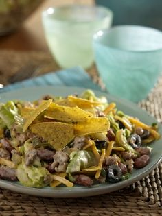 Try Ortega Turkey Taco Salad recipe at family night! For more like this, see what's cooking in our kitchen! Taco Salad Recipes, Taco Salads, Mexican Food Recipes, Ethnic Recipes, Taco Sauce, What To Cook, Family Meals, Tacos, Turkey