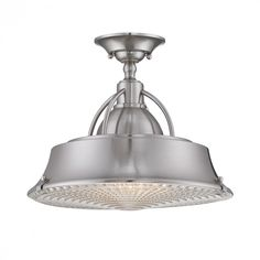 Brushed nickel semi flush fixture with clear ribbed lens- Quoizel Cody Semi-Flush Mount : CDY1714BN | Denney Lighting & Design Quoizel Lighting, Semi Flush Lighting, Semi Flush Ceiling Lights, Flush Mount Ceiling, Ceiling Light Fixtures, Ceiling Lighting, Basement Lighting, Ceiling Pendant, Ceiling Fans