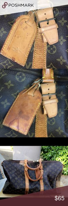 4585e1e4aaf5 AUTH VINTAGE LOUIS VUITTON Vachetta Tag and Loop AUTHENTIC VINTAGE LOUIS  VUITTON Vachetta Luggage Tag and