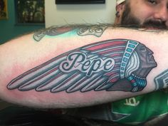 My latest ink. In memory of my Pepe. #indianmotorcyles