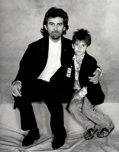 """thateventuality: """" George and Dhani Harrison, 1987, photographed by Terry O'Neill (source: National Portrait Gallery) """" """"'He's lovely,' says Harrison. 'He's good fun, good company. He can play When We..."""