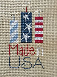 completed cross stitch Lizzie Kate 4th of July Made in USA