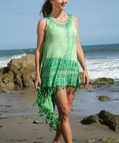 Look at this Ananda's Collection Green Tie-Dye Hi-Low Dress - Women on #zulily today!