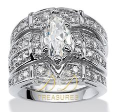 3.06 TCW Marquise-Cut CZ Rhodium Plated Three-Piece Bridal Set. Starting at $10