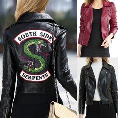 Hot TV Play 2019 New Spring Riverdale Southside Serpent Kpop Fans Zipper PU Jacket Women Coats Slim fit Jacket Outwear Clothes Size S Color Black Pu Jacket, Jacket Style, Coats For Women, Jackets For Women, Clothes For Women, Riverdale Merch, Riverdale Archie, Moda Streetwear, Streetwear Fashion
