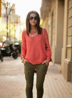Adorable pink olive skinny cargo pant fashion style