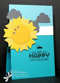 stampercamper.com - TSSC302  This is my take on the Technostamper Monday Lunchtime Sketch Challenge. It's a nice simple sketch! I just love the sun made from the SAB banner punch and these colors would definitely brighten someone's day. All the details on my blog.  Set: See Ya Later  Stampin' Up!