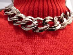 Vintage Silver Reticulated Link Necklace  Choker by ChicAvantGarde