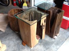 Multiple sinker cypress tables. Created from original growth cypress reclaimed from Fl rivers. Natural Creations by John Gabrielson.