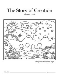 creation coloring pages for preschoolers | Creation: Genesis 1:1-18 – KCMB, Ch 1, Coloring Page