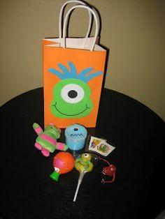 And each favor bag had a little monster stuffy, a jar of blue flubber, a monster sucker, tattoos, a finger puppet, and a squeaker.