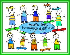 Free Doodle Boys with Skateboards and Friends Clip Art