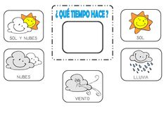 El tiempo - The weather (Español - Spanish) Church Activities, Learning Activities, Activities For Kids, Preschool Spanish, Spanish Classroom, Which Day Is Today, Go Math, 1st Grade Science, Borders For Paper