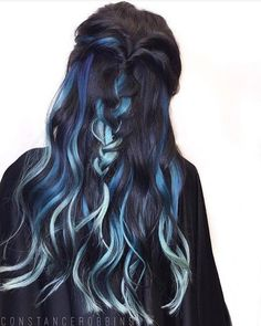 25 Black And Blue Hair Color Ideas [August, Black Hair Ombre, Hair Color Blue, Cool Hair Color, Green Hair, Weird Hair Colors, Purple Hair, Dark Pastel Hair, Baby Blue Hair, Silver Ombre