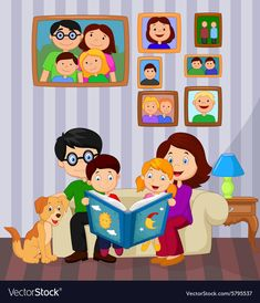 Cartoon read a story book in the living room vector image on VectorStock Preschool Learning Activities, Preschool Art, Kids Learning, Art Drawings For Kids, Drawing For Kids, Art For Kids, English Lessons For Kids, Kids English, Reading Cartoon