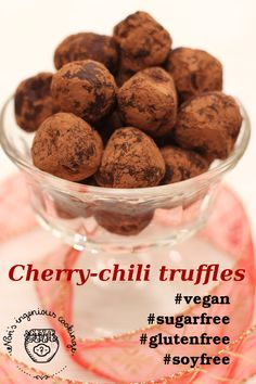 Cherry chilli truffles that make you forget they're actually sugar- and dairy-free ( #vegan, #sugarfree, #dairyfree, #lowcarb, #lowglycemic, #soyfree, #top8free, #nutfree)
