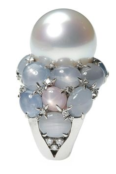 Celestia ring with a round white South Sea pearl, star sapphires and diamonds. Photo by John Aquino