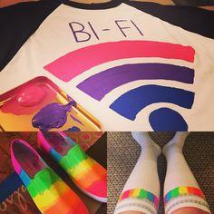 Colorful crafting for Gay Pride 2016! Gay pride flag socks and shoes. Bisexual pride bi-fi baseball tee.