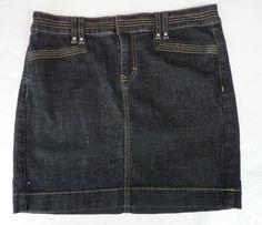 White House Black Market Dark Denim Mini Skirt 4/S Discover Happiness Rhinestone #WhiteHouseBlackMarket #Mini