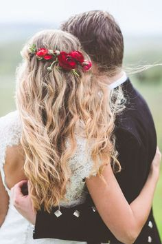half up half down wedding hairstyle with red flower crown / http://www.deerpearlflowers.com/wedding-hairstyles-with-flower-crowns/2/
