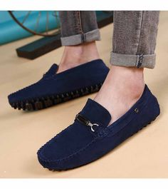 Men's leather slip on shoe silver buckle design on vamp, sewing thread design, casual, work office occasions. Gucci Mens Sneakers, Mens Slip On Loafers, Mens Slip On Shoes, Leather Slip On Shoes, Loafers Men, Shoes Men, Women's Shoes, Velvet Shoes, Blue Suede Shoes