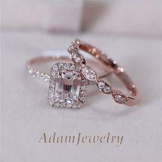 14K Rose Gold Ring Set VS 5x7mm Pink Morganite Engagement Wedding Ring Set