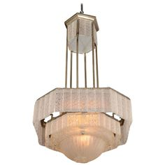 Frosted Molded Glass Chandelier by Sabino, French circa 1925 | From a unique collection of antique and modern chandeliers and pendants at https://www.1stdibs.com/furniture/lighting/chandeliers-pendant-lights/