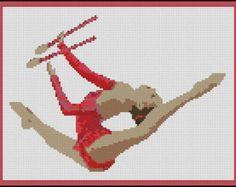 Items similar to Rhythmic Gymnastics With Batons - Needle Point, Cross Stitch and Cross Stitch Hand Paint Chart Patterns. on Etsy Needlepoint Patterns, Cross Stitch Patterns, Hama Beads, Hand Painted Crosses, Paint Charts, Pattern Pictures, Cross Paintings, Rhythmic Gymnastics, Yarn Colors