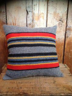 blue striped Pendleton wool throw pillow
